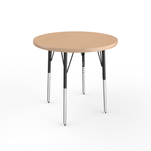 30in Round Premium Thermo-Fused Adjustable Activity Table Maple/Maple/Black - Standard Swivel