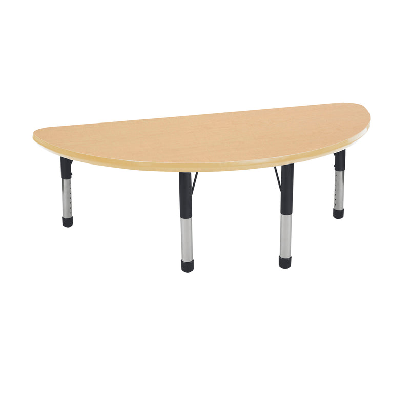 24in x 48in Half Round Premium Thermo-Fused Adjustable Activity Table Maple/Maple/Black - Chunky Leg