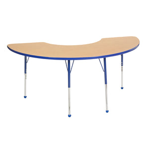 36in x 72in Half Moon Premium Thermo-Fused Adjustable Activity Table Maple/Blue/Blue - Standard Ball