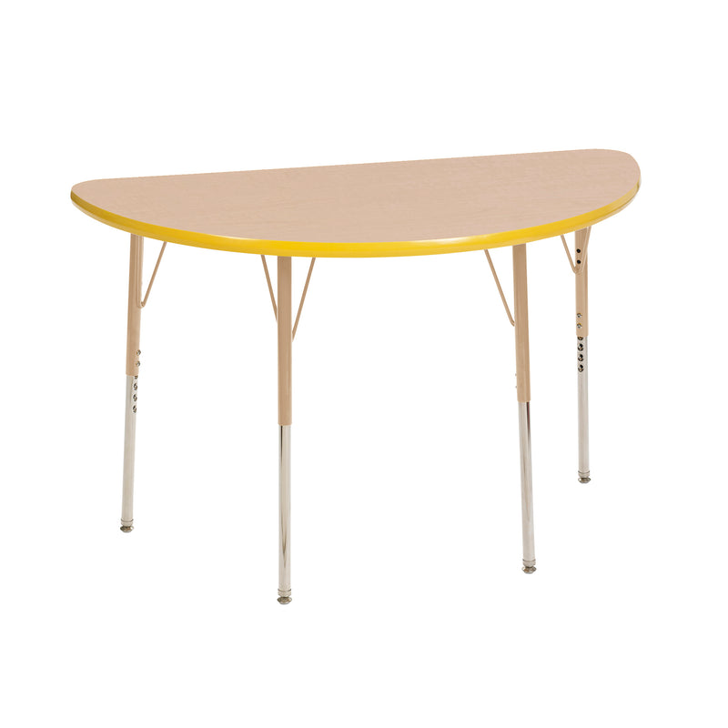 24in x 48in Half Round Premium Thermo-Fused Adjustable Activity Table Maple/Yellow/Sand - Standard Swivel
