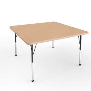 48in x 48in Square Premium Thermo-Fused Adjustable Activity Table Maple/Maple/Black - Standard Ball
