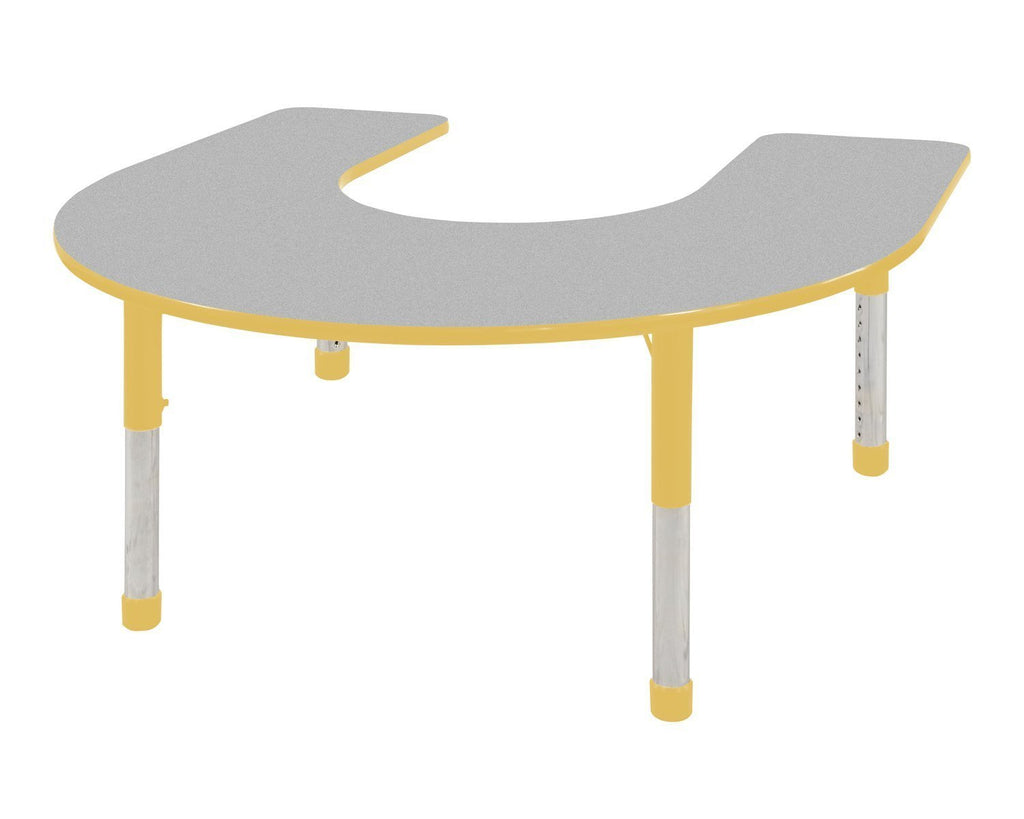 60in x 66in Horseshoe Everyday T-Mold Adjustable Activity Table Grey/Yellow - Chunky with Seven 14in Stack Chairs Yellow - Ball Glide