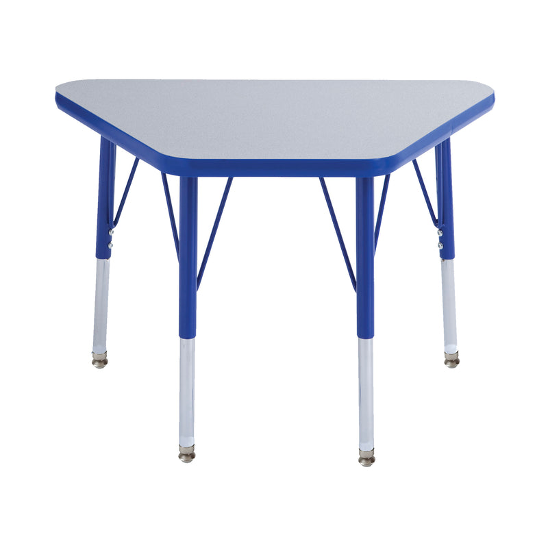 18in x 30in Trapezoid Premium Thermo-Fused Adjustable Activity Table Grey/Blue/Blue - Standard Swivel