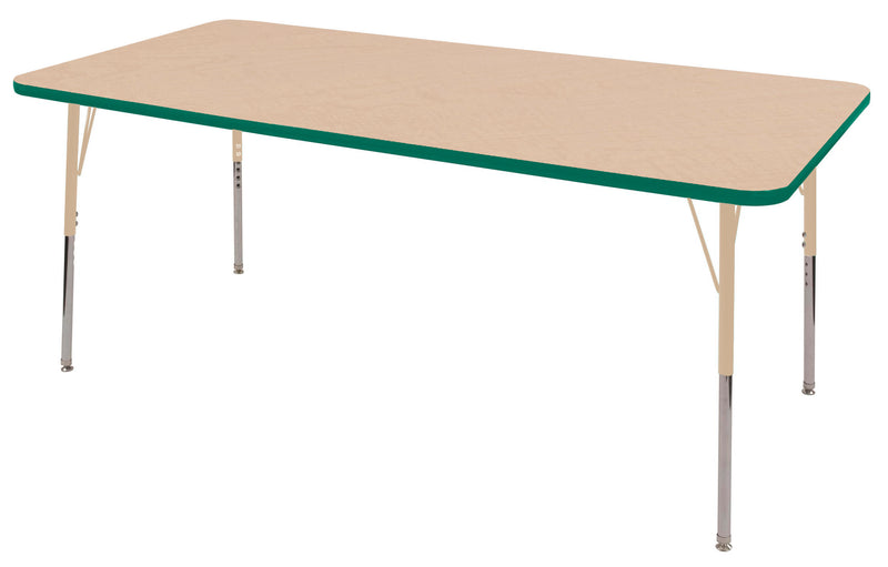 36in x 72in Rectangle Premium Thermo-Fused Adjustable Activity Table Maple/Green/Sand - Standard Swivel