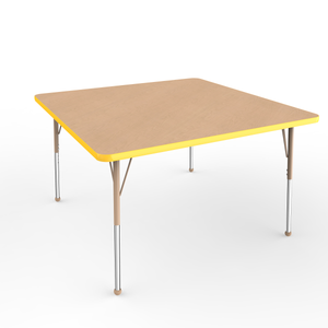 48in x 48in Square Premium Thermo-Fused Adjustable Activity Table Maple/Yellow/Sand - Standard Ball