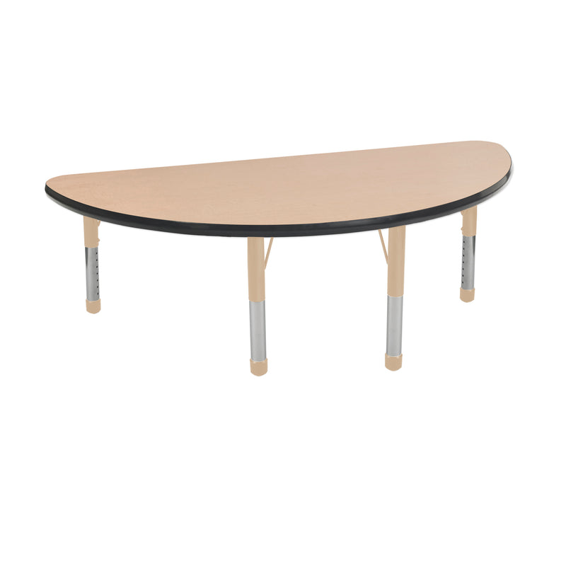 24in x 48in Half Round Premium Thermo-Fused Adjustable Activity Table Maple/Black/Sand - Chunky Leg