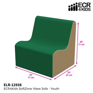 SoftZone® Wave Youth Sofa - Green/Sand
