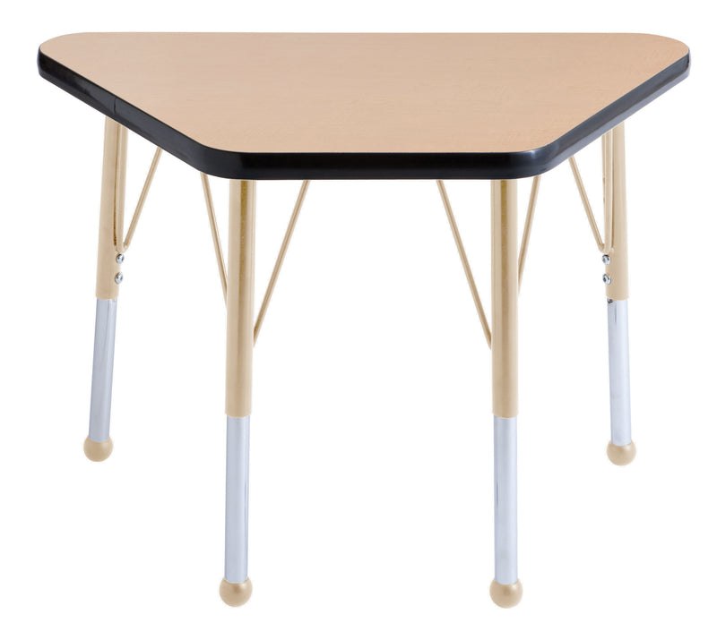 18in x 30in Trapezoid Premium Thermo-Fused Adjustable Activity Table Maple/Black/Sand - Standard Ball