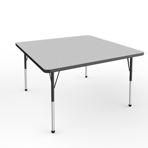 48in x 48in Square Premium Thermo-Fused Adjustable Activity Table Grey/Black/Black - Standard Ball