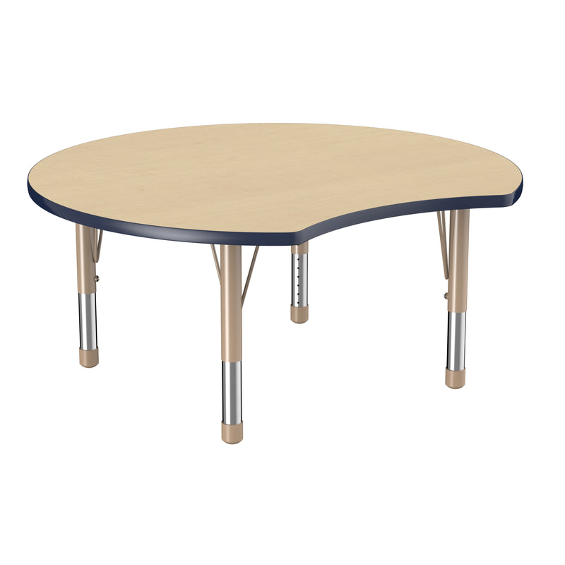 48in Crescent Premium Thermo-Fused Adjustable Activity Table Maple/Navy/Sand - Chunky Leg