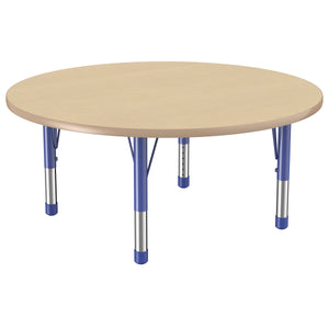 48in Round Premium Thermo-Fused Adjustable Activity Table Maple/Maple/Blue - Chunky Leg
