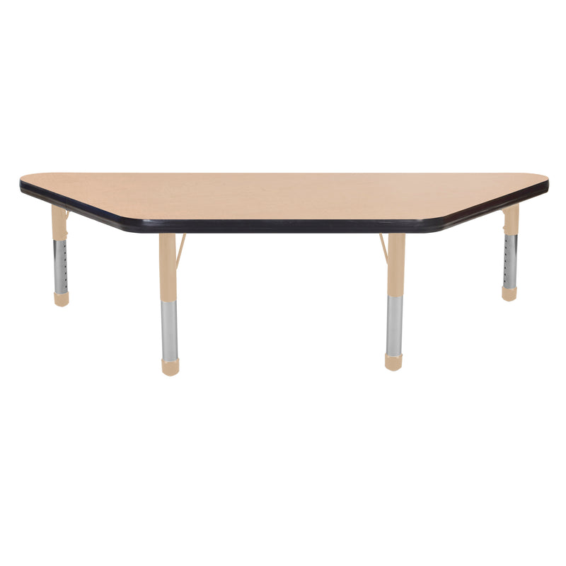 24in x 48in Trapezoid Premium Thermo-Fused Adjustable Activity Table Maple/Black/Sand - Chunky Leg