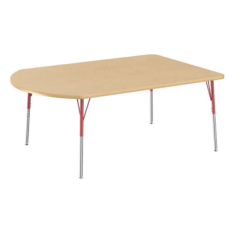 48in x 72in Work Around Premium Thermo-Fused Adjustable Activity Table Maple/Maple/Red - Standard Swivel