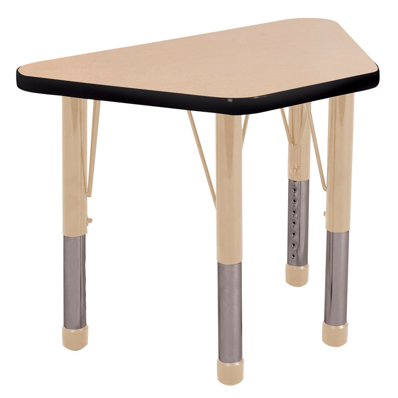 18in x 30in Trapezoid Premium Thermo-Fused Adjustable Activity Table Maple/Black/Sand - Chunky Leg
