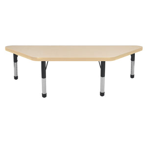 24in x 48in Trapezoid Premium Thermo-Fused Adjustable Activity Table Maple/Maple/Black - Chunky Leg