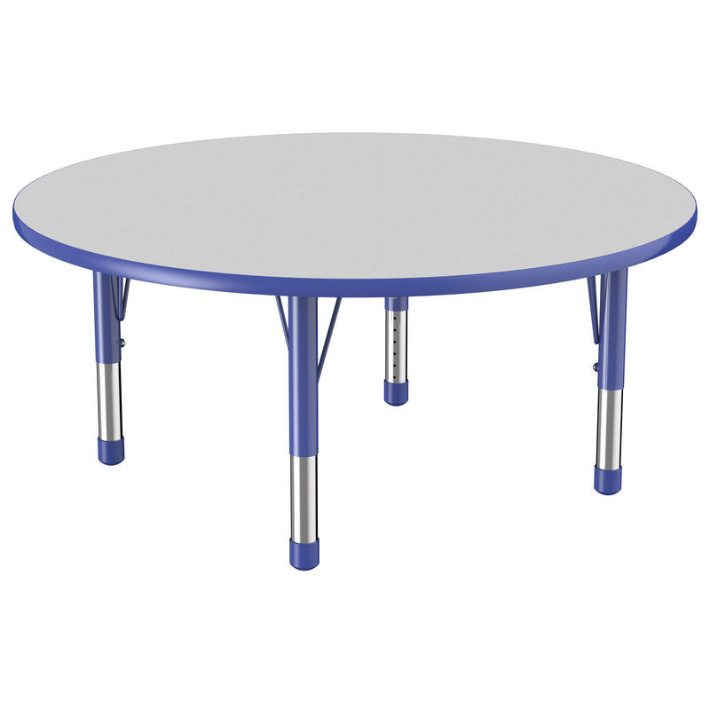 48in Round Premium Thermo-Fused Adjustable Activity Table Grey/Blue/Blue - Chunky Leg