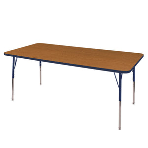 36in x 72in Rectangle Premium Thermo-Fused Adjustable Activity Table Oak/Navy/Navy - Standard Swivel