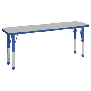 18in x 60in Rectangle Premium Thermo-Fused Adjustable Activity Table Grey/Blue/Blue - Chunky Leg