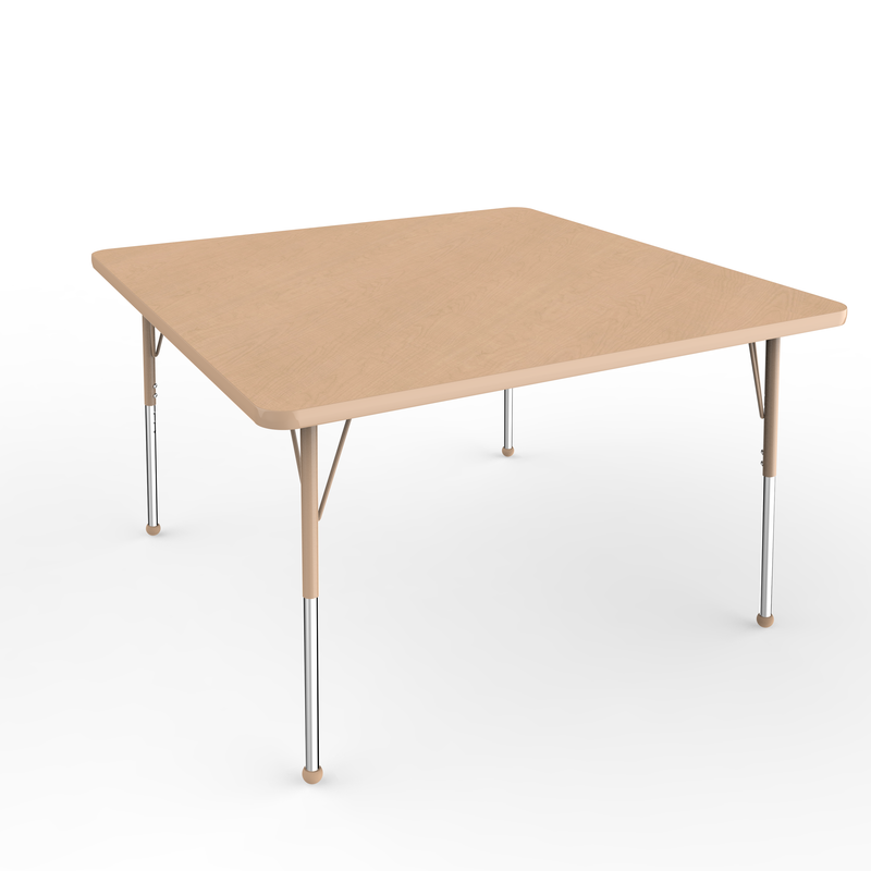 48in x 48in Square Premium Thermo-Fused Adjustable Activity Table Maple/Maple/Sand - Standard Ball