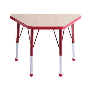 18in x 30in Trapezoid Premium Thermo-Fused Adjustable Activity Table Maple/Red/Red - Standard Ball