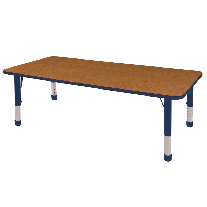 36in x 72in Rectangle Premium Thermo-Fused Adjustable Activity Table Oak/Navy/Navy - Chunky Leg