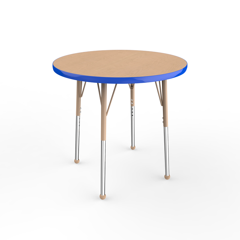 30in Round Premium Thermo-Fused Adjustable Activity Table Maple/Blue/Sand - Standard Ball