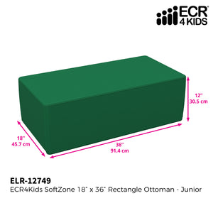 SoftZone® 18in x 36in Rectangular Ottoman Junior - Green