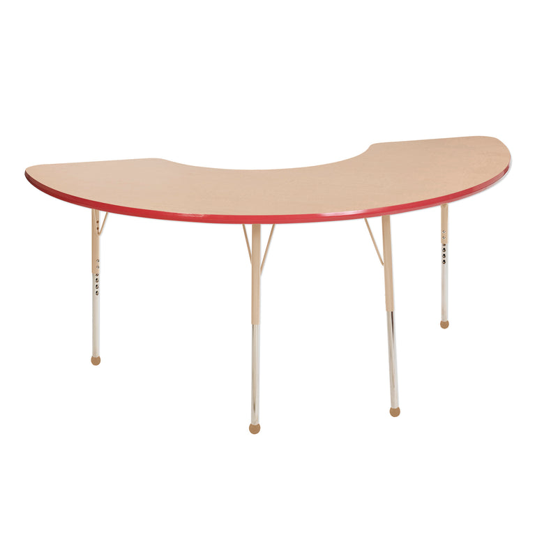 36in x 72in Half Moon Premium Thermo-Fused Adjustable Activity Table Maple/Red/Sand - Standard Ball