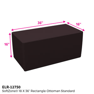 SoftZone® 18in x 36in Rectangular Ottoman Standard - Black