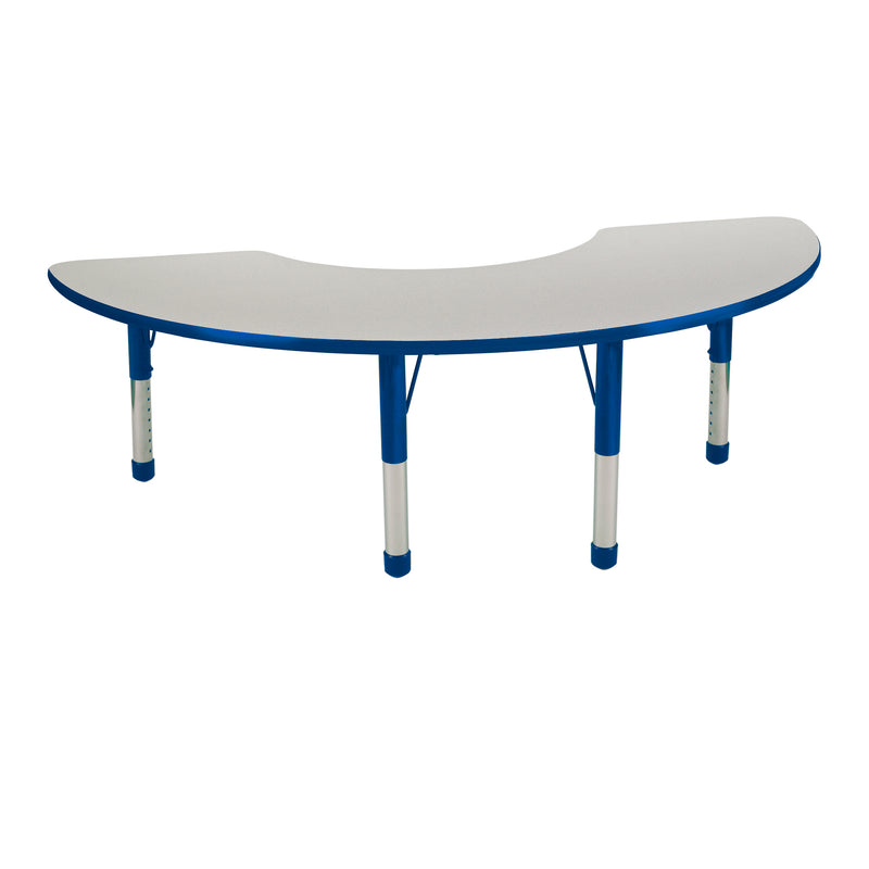 36in x 72in Half Moon Premium Thermo-Fused Adjustable Activity Table Grey/Blue/Blue - Chunky Leg