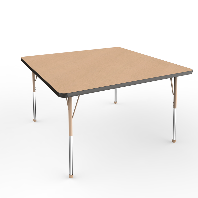 48in x 48in Square Premium Thermo-Fused Adjustable Activity Table Maple/Black/Sand - Standard Ball