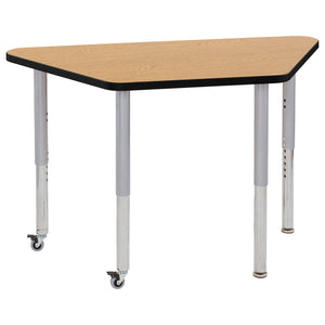 24in x 48in Trapezoid Premium Thermo-Fused Adjustable Activity Table Oak/Black/Silver - Super Leg