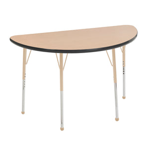 24in x 48in Half Round Premium Thermo-Fused Adjustable Activity Table Maple/Black/Sand - Standard Ball