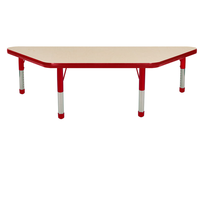 24in x 48in Trapezoid Premium Thermo-Fused Adjustable Activity Table Maple/Red/Red - Chunky Leg