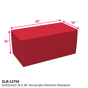 SoftZone® 18in x 36in Rectangular Ottoman Standard - Red