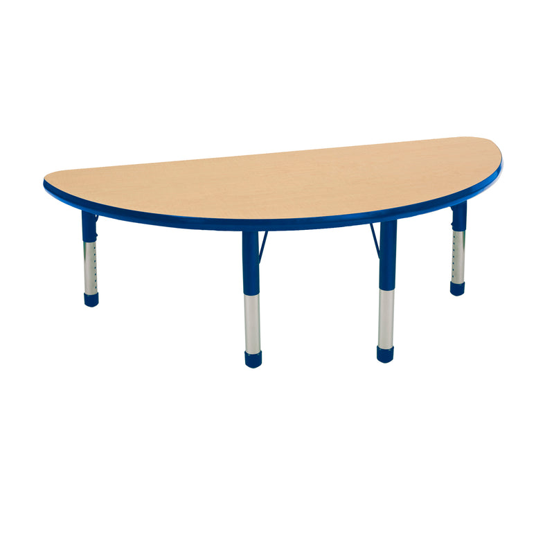24in x 48in Half Round Premium Thermo-Fused Adjustable Activity Table Maple/Blue/Blue - Chunky Leg