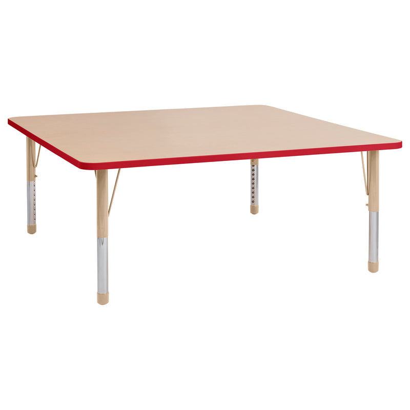 60in x 60in Square Premium Thermo-Fused Adjustable Activity Table Maple/Red/Sand - Chunky Leg