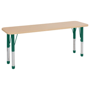 18in x 60in Rectangle Premium Thermo-Fused Adjustable Activity Table Maple/Maple/Green - Chunky Leg
