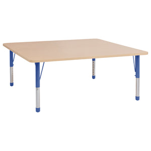 60in x 60in Square Premium Thermo-Fused Adjustable Activity Table Maple/Maple/Blue - Chunky Leg