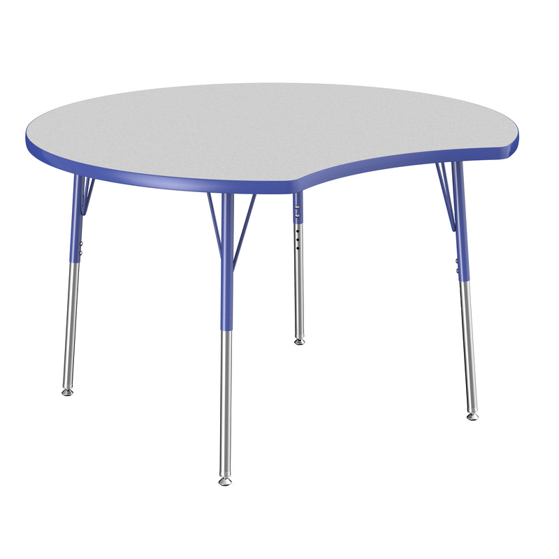 48in Crescent Premium Thermo-Fused Adjustable Activity Table Grey/Blue/Blue - Standard Swivel