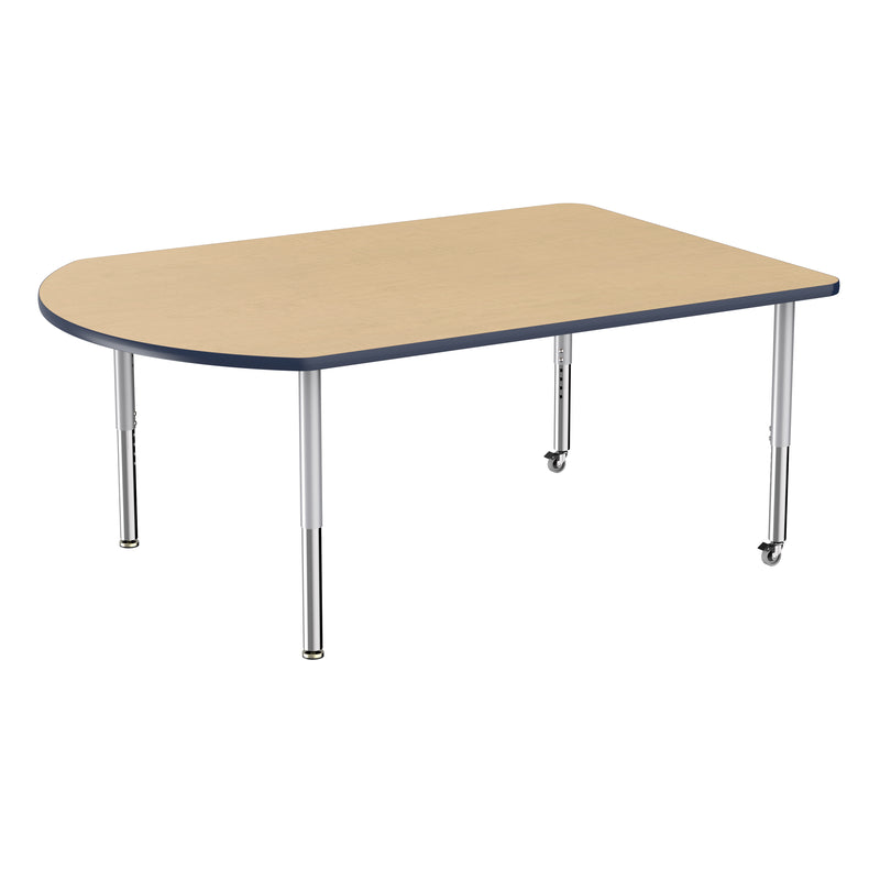 48in x 72in Work Around Premium Thermo-Fused Adjustable Activity Table Maple/Navy/Silver - Super Leg