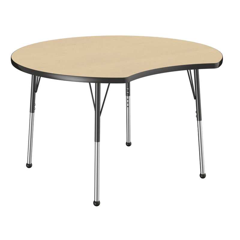 48in Crescent Premium Thermo-Fused Adjustable Activity Table Maple/Black/Black - Standard Ball