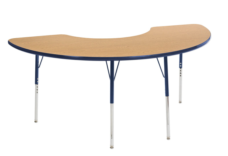 36in x 72in Half Moon Premium Thermo-Fused Adjustable Activity Table Oak/Navy/Navy - Standard Swivel