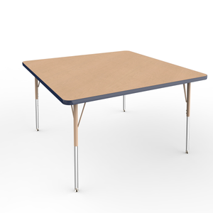 48in x 48in Square Premium Thermo-Fused Adjustable Activity Table Maple/Navy/Sand - Standard Swivel
