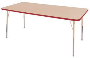 36in x 72in Rectangle Premium Thermo-Fused Adjustable Activity Table Maple/Red/Sand - Standard Swivel