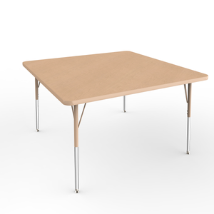 48in x 48in Square Premium Thermo-Fused Adjustable Activity Table Maple/Maple/Sand - Standard Swivel