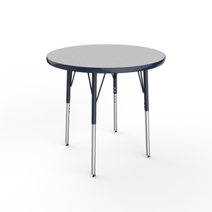 30in Round Premium Thermo-Fused Adjustable Activity Table Grey/Navy/Navy - Standard Swivel