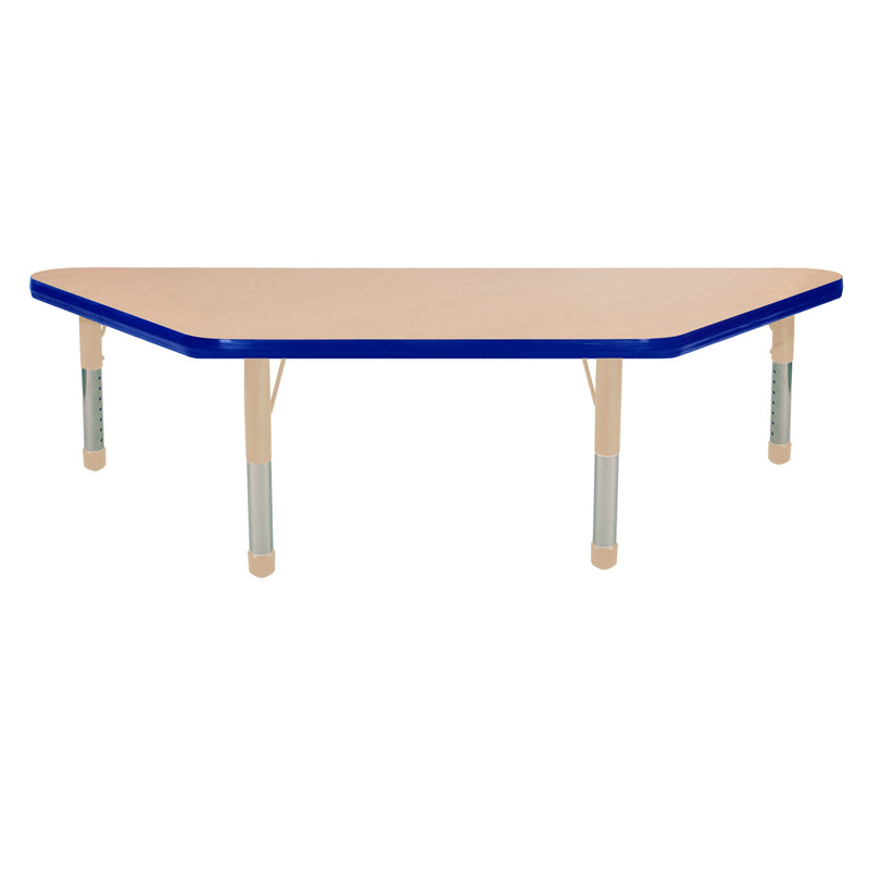 24in x 48in Trapezoid Premium Thermo-Fused Adjustable Activity Table Maple/Blue/Sand - Chunky Leg