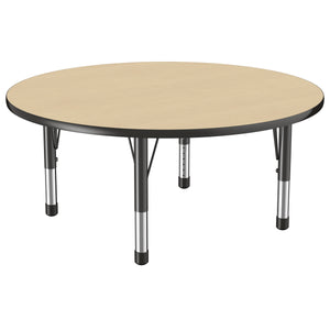 48in Round Premium Thermo-Fused Adjustable Activity Table Maple/Black/Black - Chunky Leg