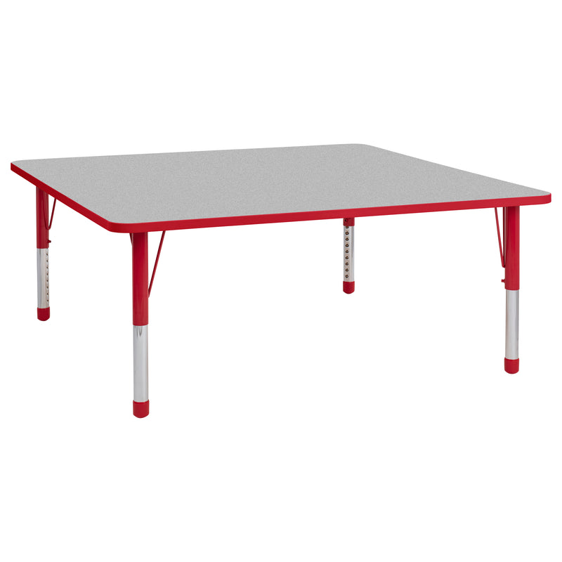 60in x 60in Square Premium Thermo-Fused Adjustable Activity Table Grey/Red/Red - Chunky Leg